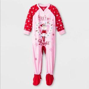 Girls 4T elf on the shelf onesie Christmas pajamas